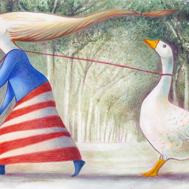 Funny illustration depicting a little girl dragging a stubborn goose, she is a trainer of geese