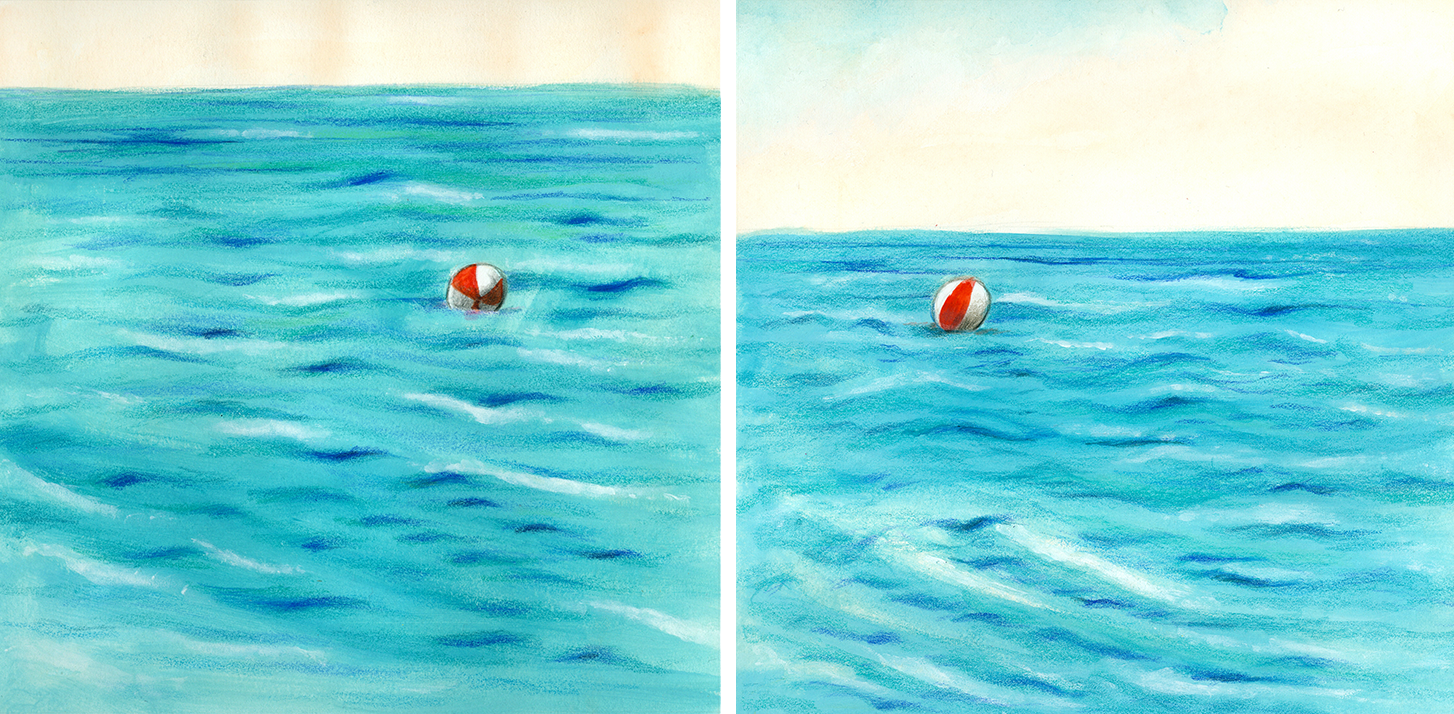 Illustration of a beach ball carried by the waves