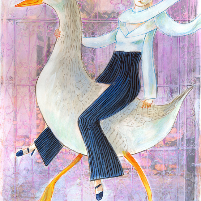 Illustration of a sleek woman riding a goose, an eco friendly vehicle