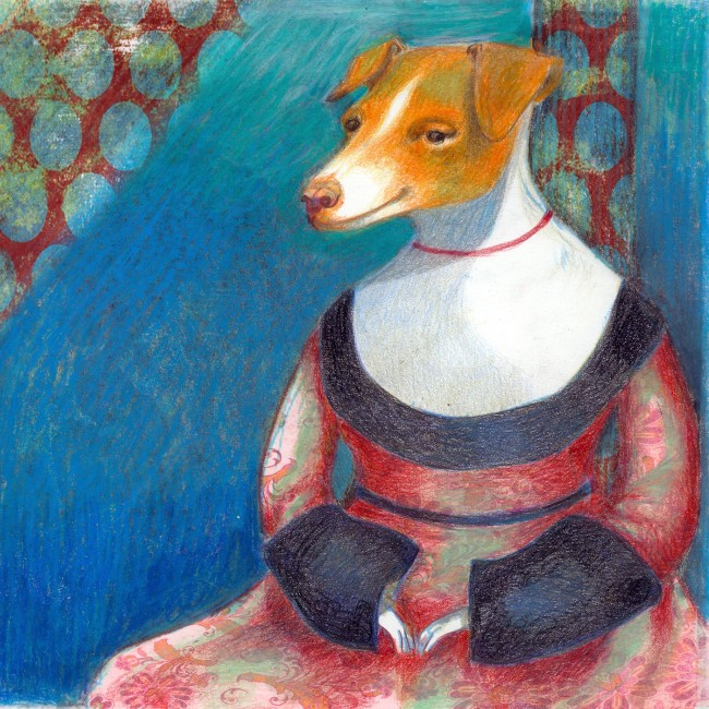 Portrait of a dog named Morran depicted like a classic lady. Illustration for the Morran book project edited by artist Camilla Engman
