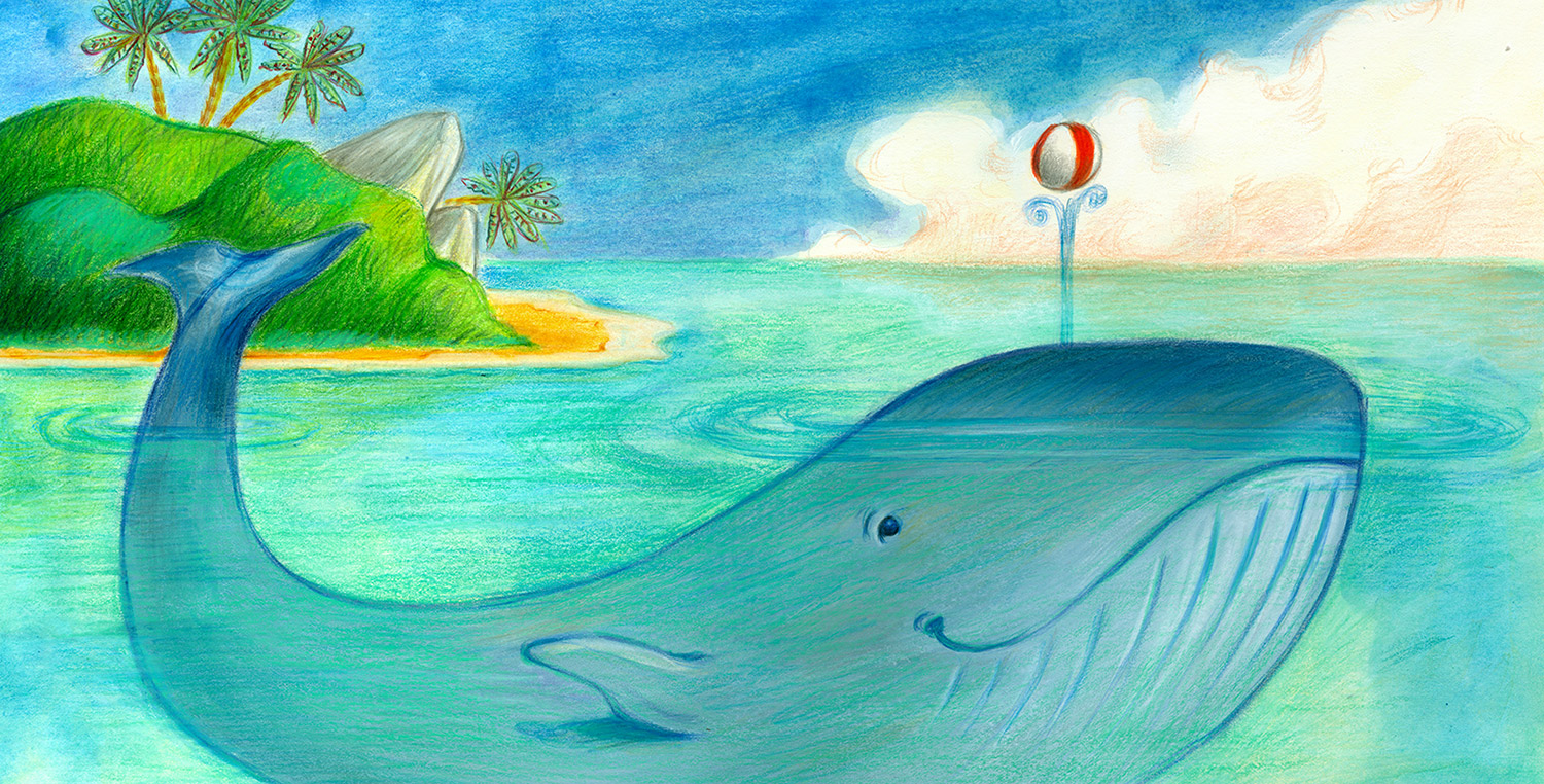 Illustration of a whale playing with a beach ball near a tropical island