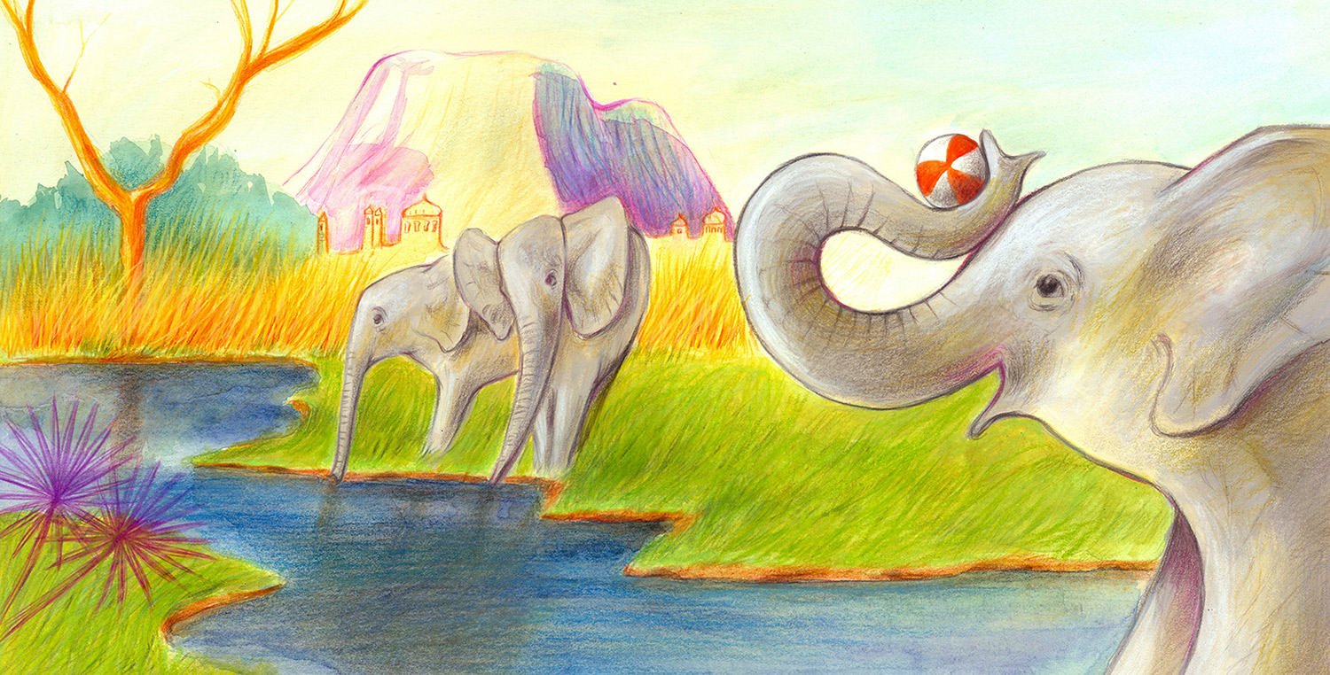 Illustration of elephants playing with a beach ball on the banks of an Indian river