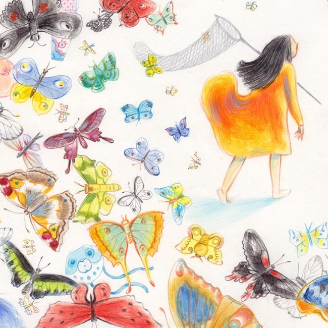 Illustration of a little girl chasing butterflies. Foreground full of butterflies flying away from her