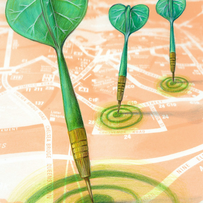 Illustration of green guerrilla darts, they are stucked on a map and have the tail shaped like a leaf