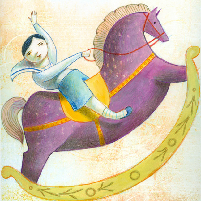 Illustration of a little boy riding a giant purple rocking horse