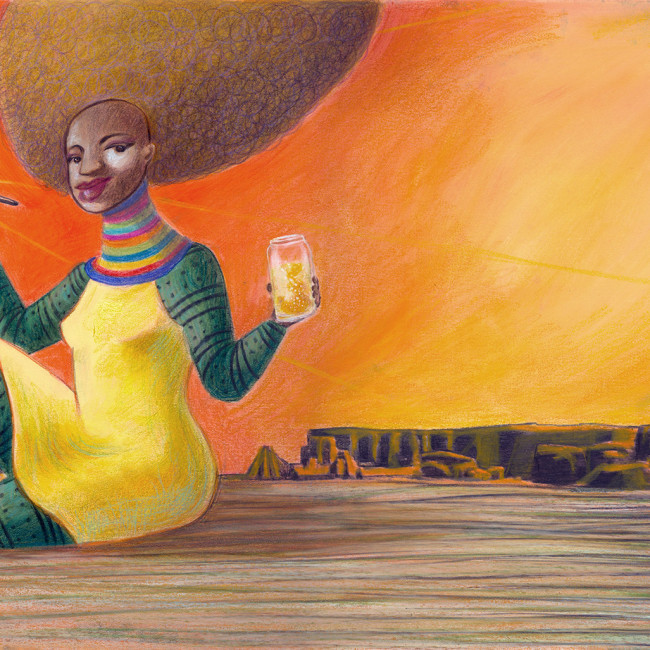 A black goddess is creating the sun with glittering yellow paint in a prehiistoric, arid and rocky world