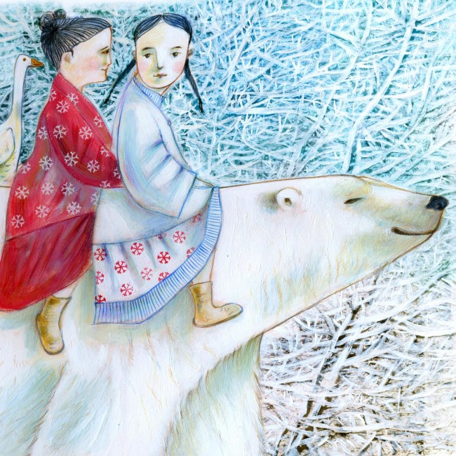 Two little girls, one dressed in white one in red, and a goose are starting a journey riding a big white bear. On the background a snowy forest