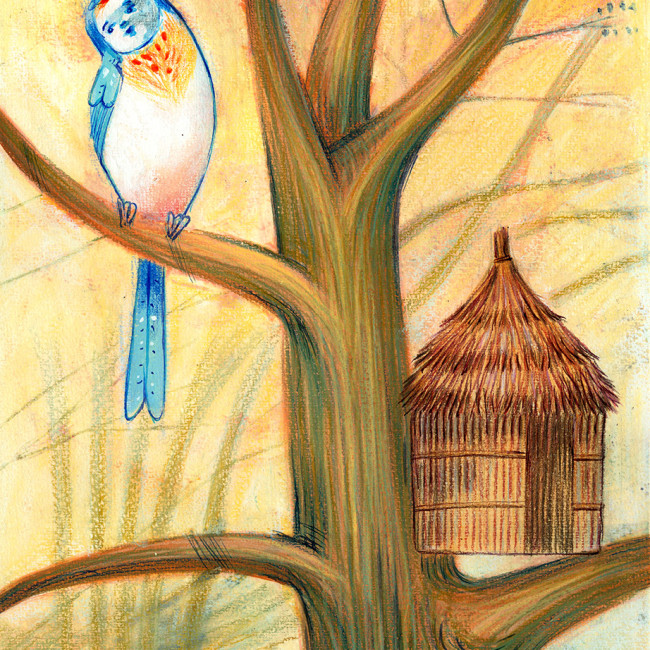 Illustration of a bird which has built the wrong house, it is a hut instead of a nest