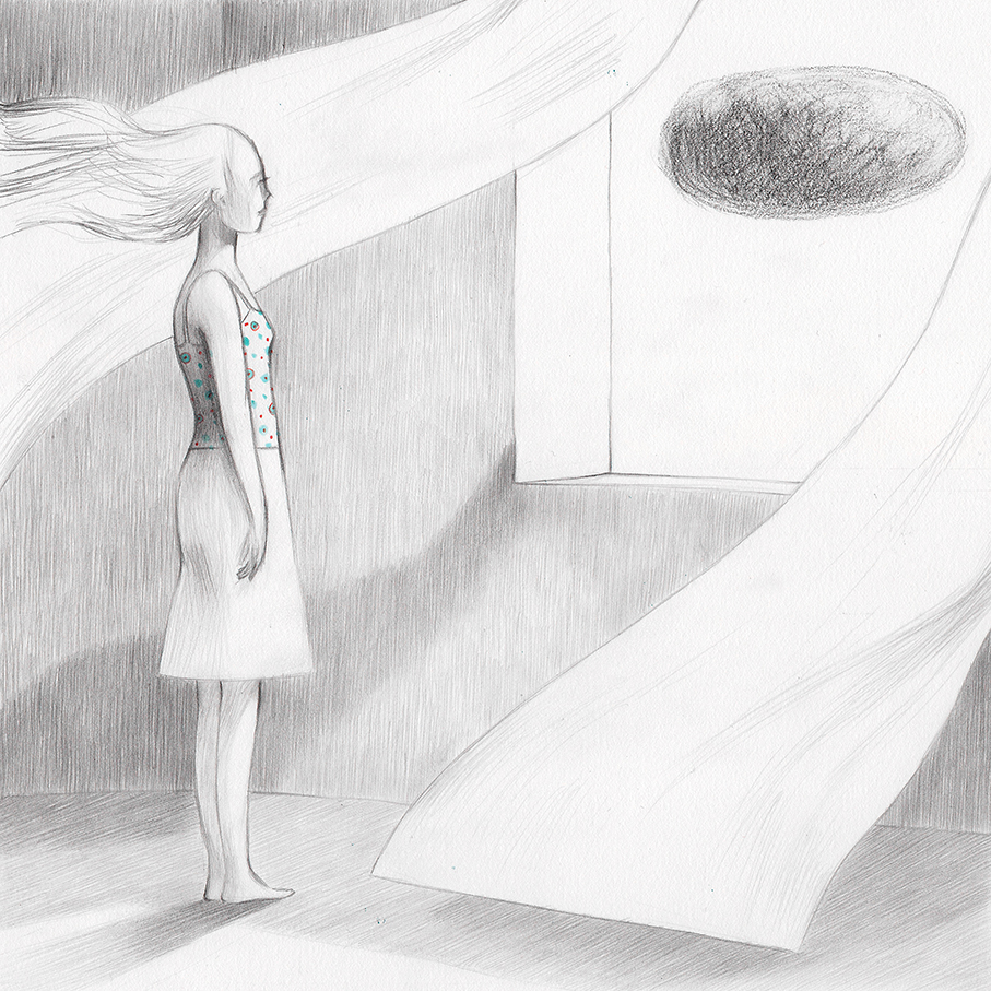 Illustration of a girl, Amelia, that is looking at a cloud out of the window. From a book project about a girl, Amelia, clouds, wanderlust and flight.