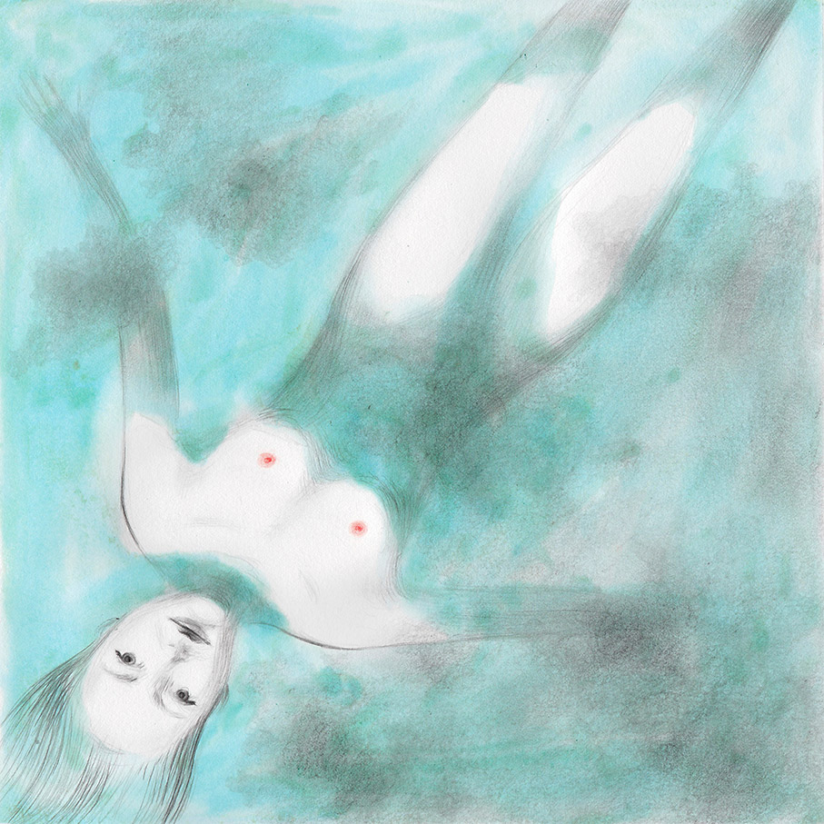 Illustration from a book project about a girl, Amelia, clouds, wanderlust and flight. Amelia is floating in the water
