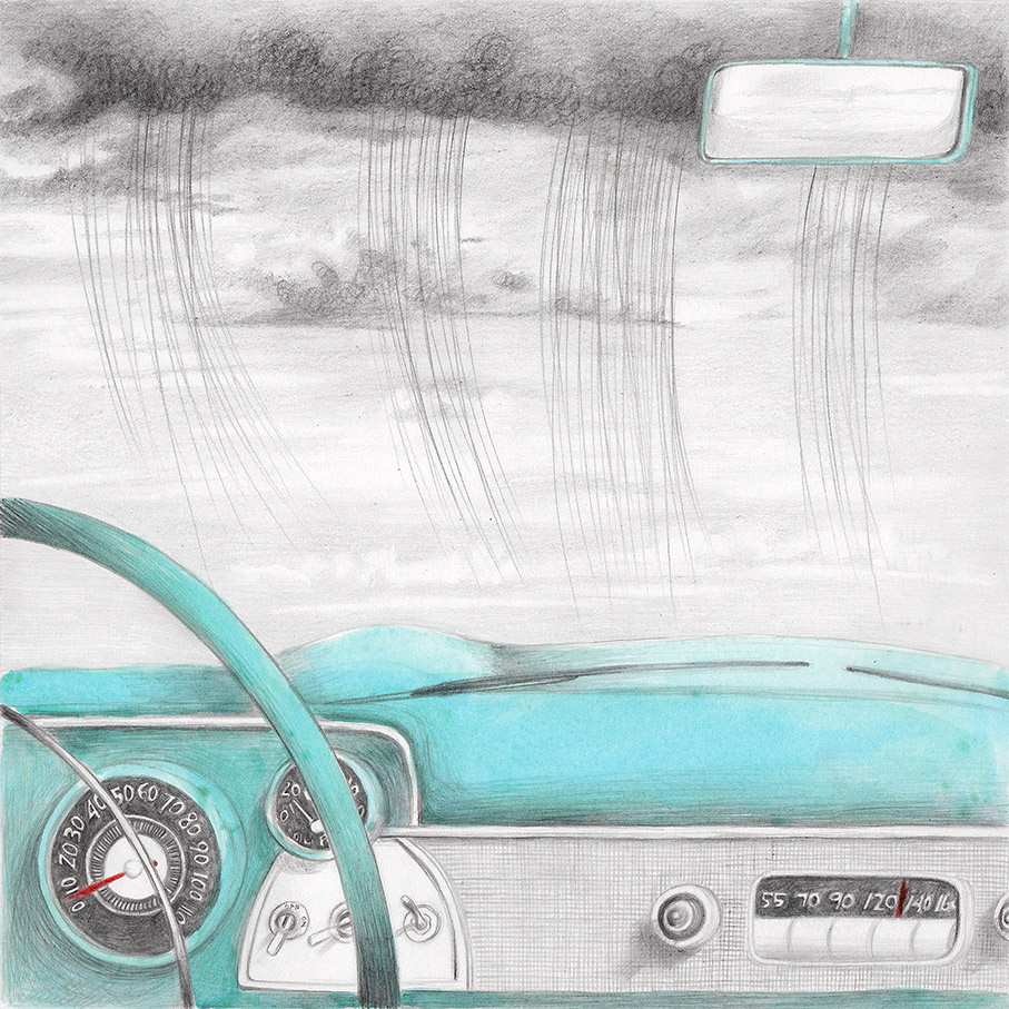 Illustration of a car dashboard and a rainy sky, from a book project about a girl, Amelia, clouds, wanderlust and flight.