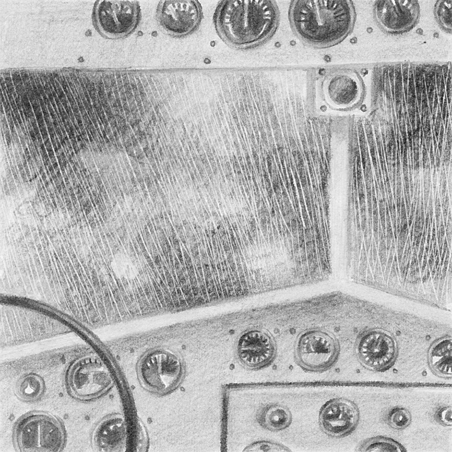 Black and white Illustration of a cockpit, from a book project about a girl, Amelia, clouds, wanderlust and flight.