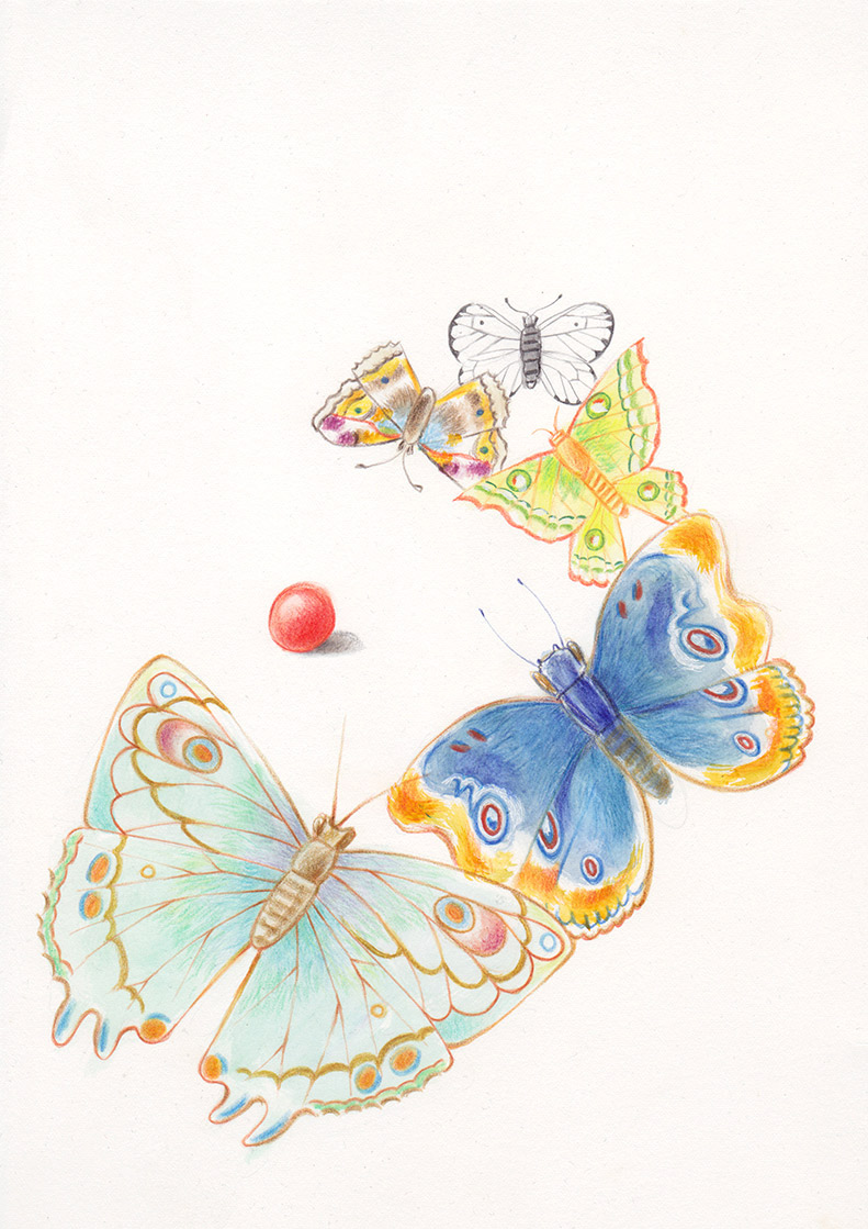 Multicolored butterflies are trying to catch a red ball that is about to roll away. Illustation from a book project which is entitled Rae's gift