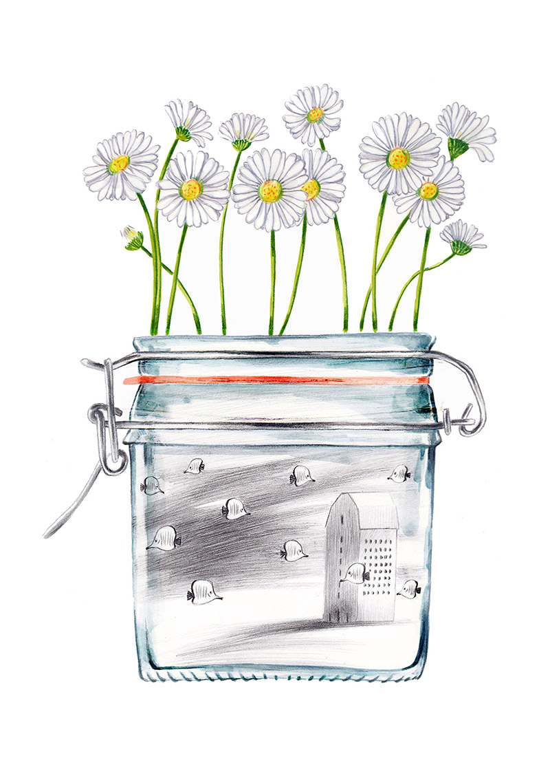 Daisies on a jar that is filled with a surreal and dream-like scene, with flying fish and a house. The jar is part of a collection of bottles of a child. Illustration for a book entitled