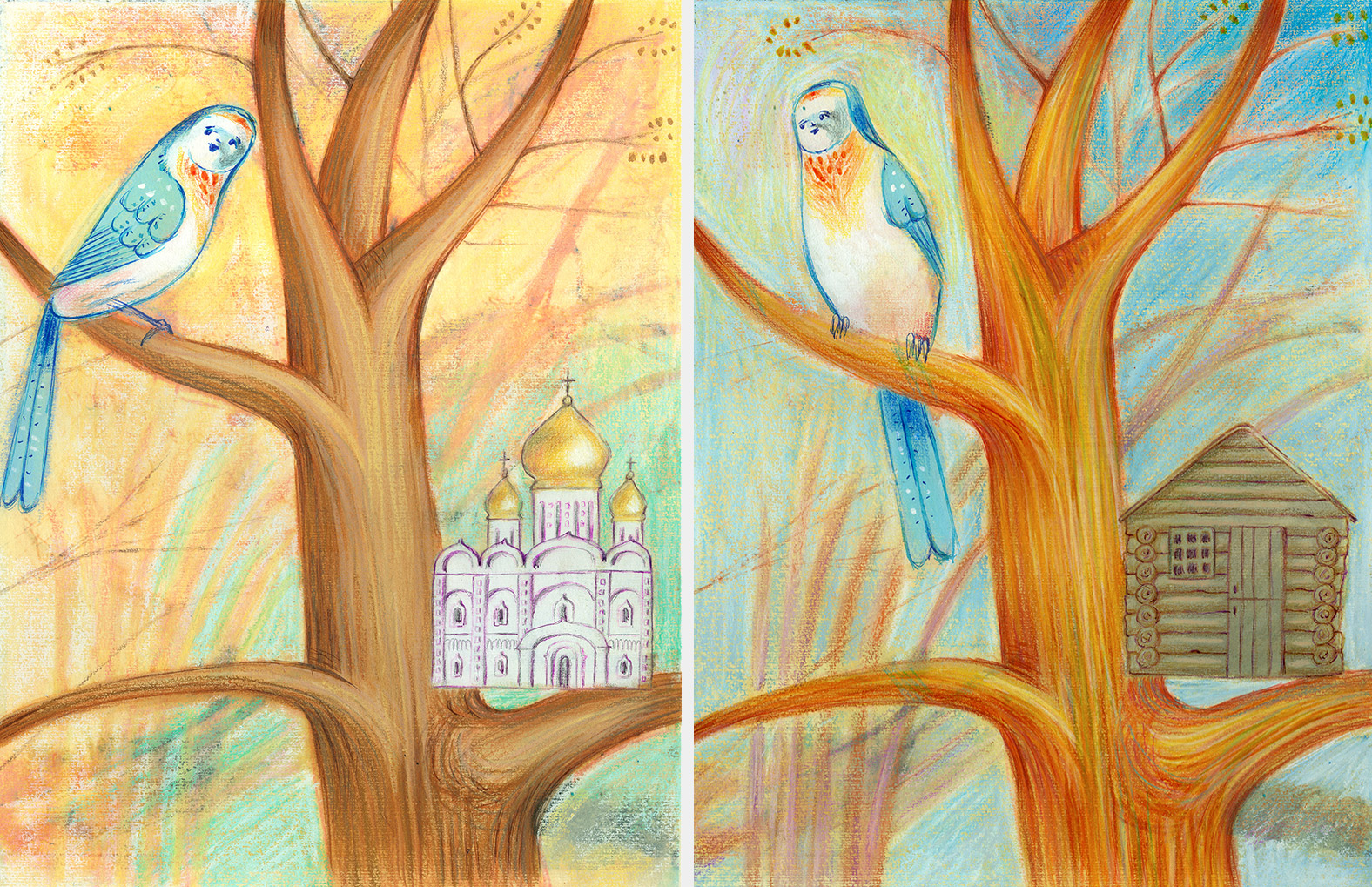 Two illustrations of a bird which has built the wrong houses, one is a log cabin and the other one is an Orthodox church. He has to learn how to build the nest
