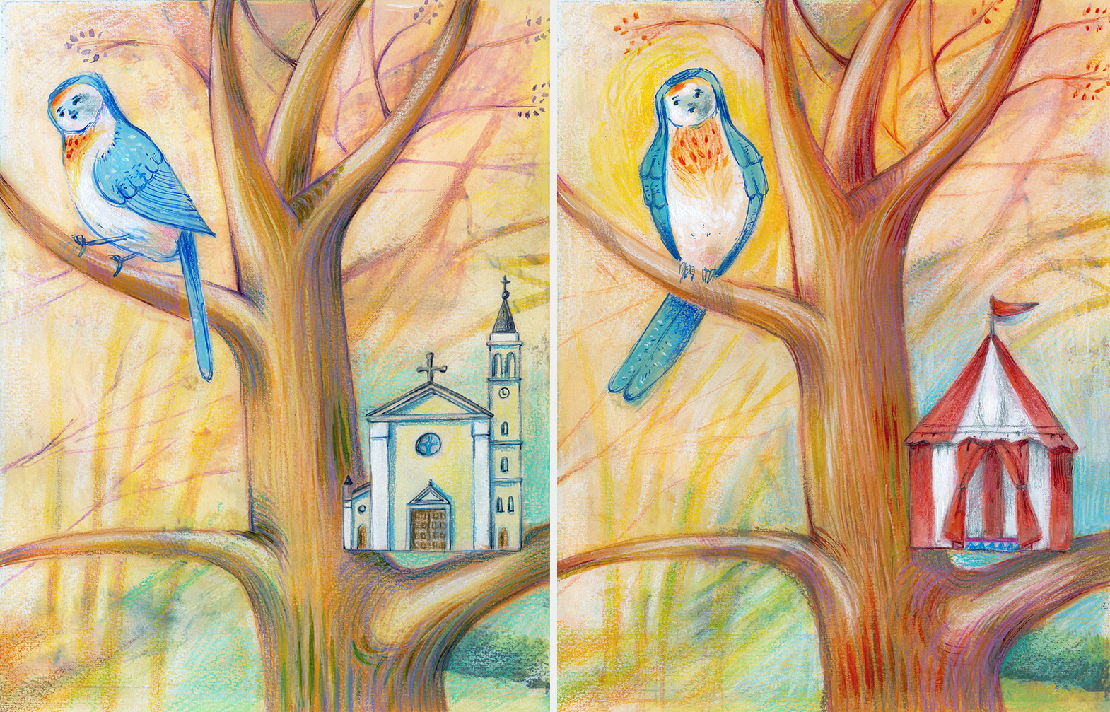 Two illustrations of a bird which has built the wrong houses, one is a circus tent and the other is a curch. He has to learn to build the nest