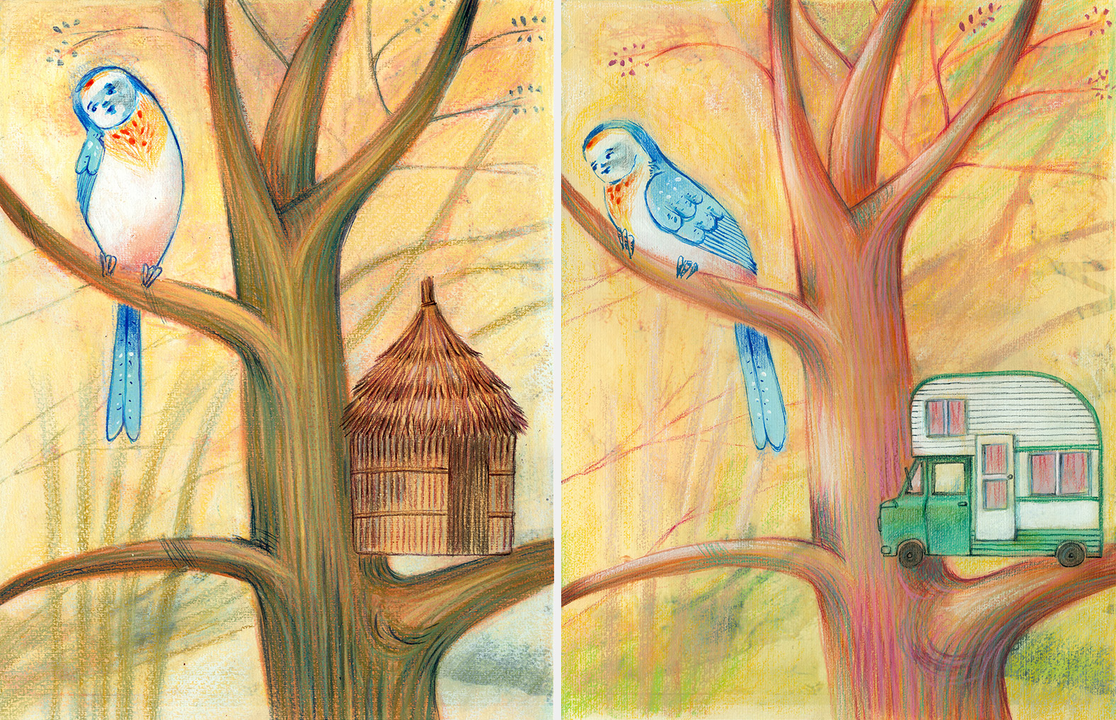 Two illustrations of a bird which has built the wrong houses, one is a hut and the other is a caravan. He has to learn to build the nest