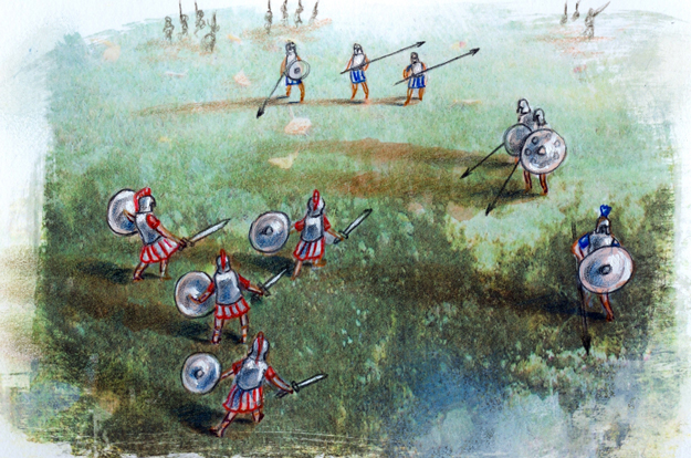 Greek and trojan soldiers in battle. Illustration from the centennial edition of the book