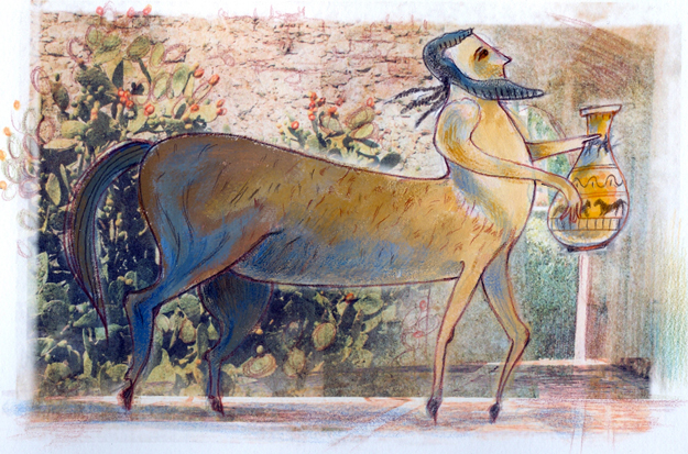 The centaur Chiron, teacher and tutor of Achilles. Illustration from the centennial edition of the book