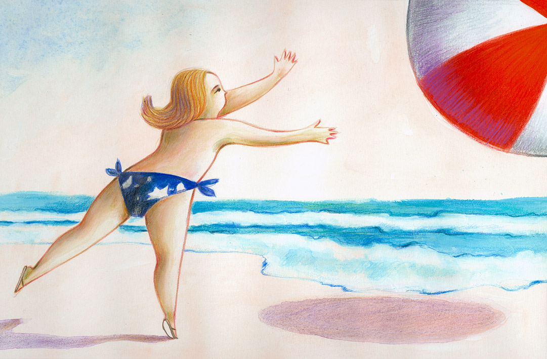 Illustration of a little girl that is playing with a large beach ball near the sea. The ball runs away from her hands.