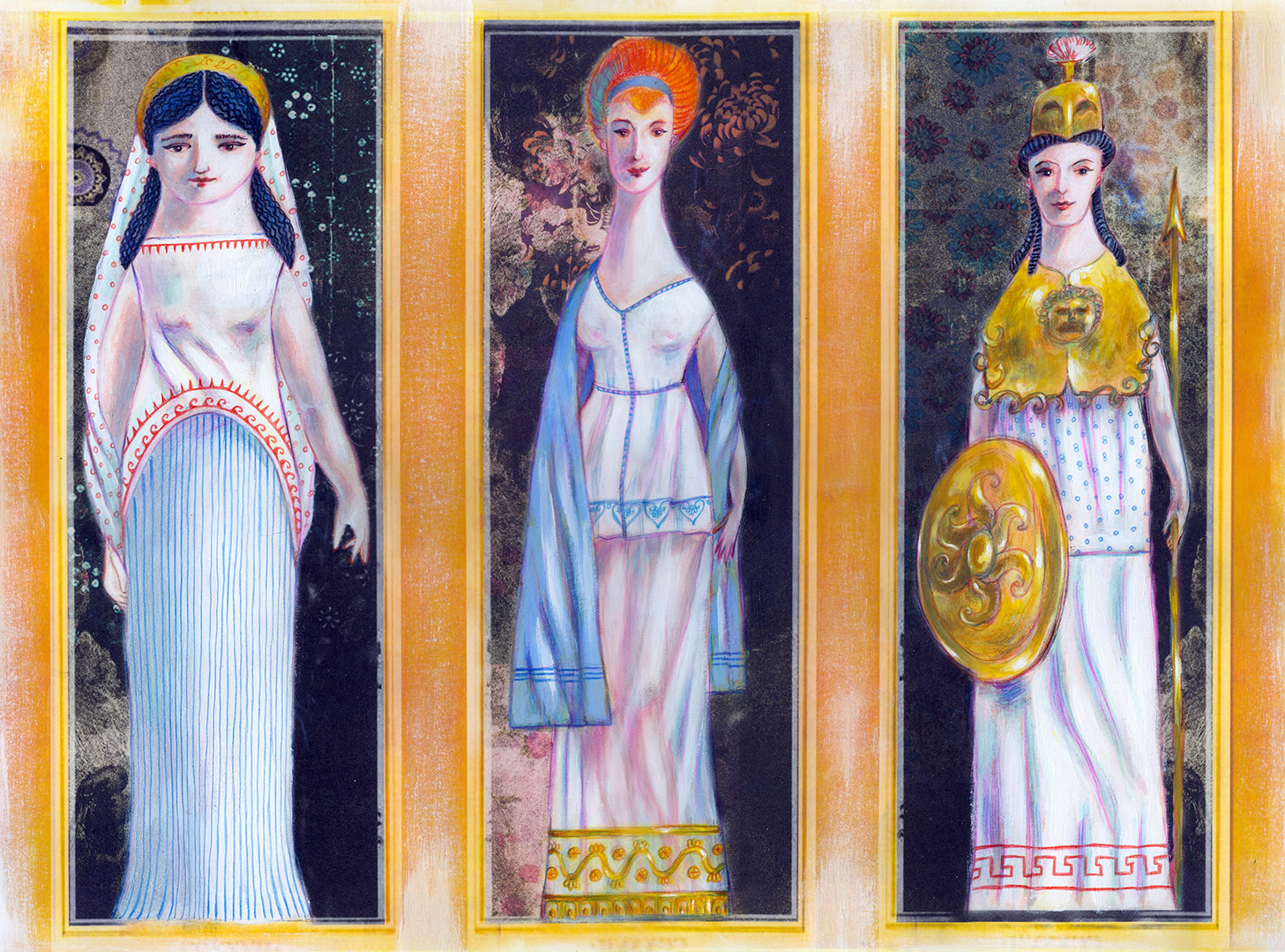 Hera, Athena and Aphrodite waiting for the judgement of Paris. Award winning illustration from the centennial edition of the book