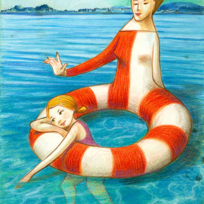 Illustration of a mother which is lifebelt shaped. She protects and have care of her daughter floating in the water.