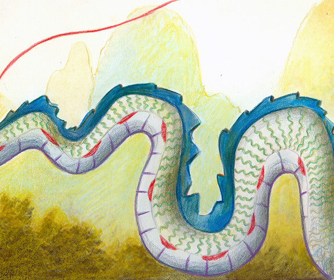 Illustration for the chinese year of the dragon. A girl is wearing a scarf that turns into a smiling dragon. On the backgound they are the Huangshan yellow mountains
