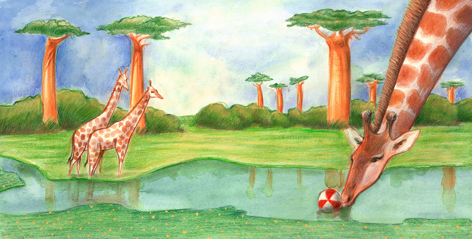 Illustration of a giraffe playing with a beach ball in an African landscape with baobabs landscape