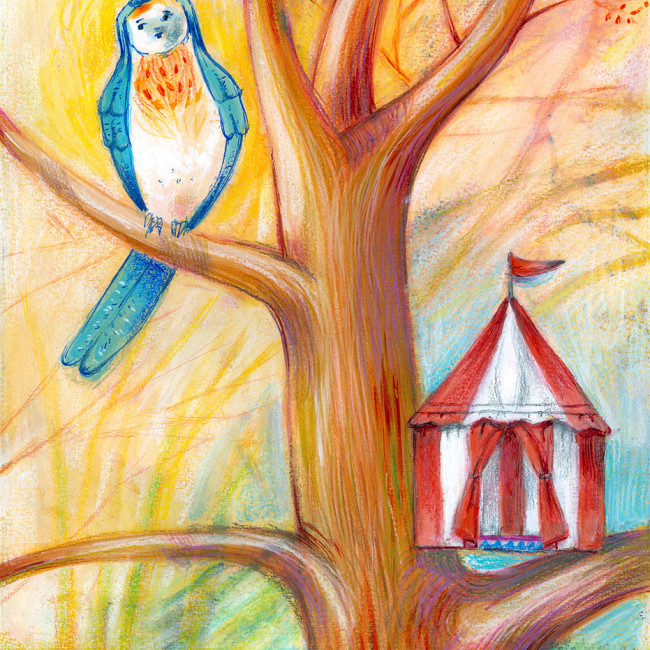 Illustration of a bird which has built the wrong house, it is a circus tent instead of a nest