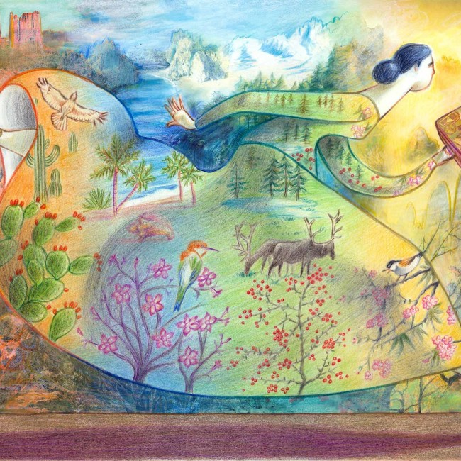 Illustration representing wanderlust: a woman runs away with a suitcase in hand. Her dress replicates and blends into the landscape which changes seamlessly from desert to tropical sea to the mountains to the Yellow Mountains