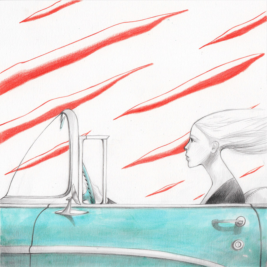 Illustration from a book project about a girl, Amelia, clouds, wanderlust and flight. Amelia is drivimg her turquoise car, in the background a sky made of red clouds