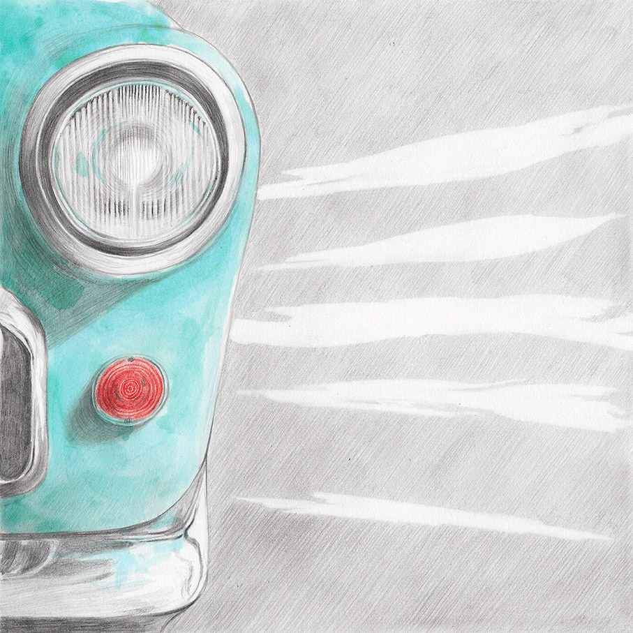 Illustration of a car headlights and a cloudy sky, from a book project about a girl, Amelia, clouds, wanderlust and flight.