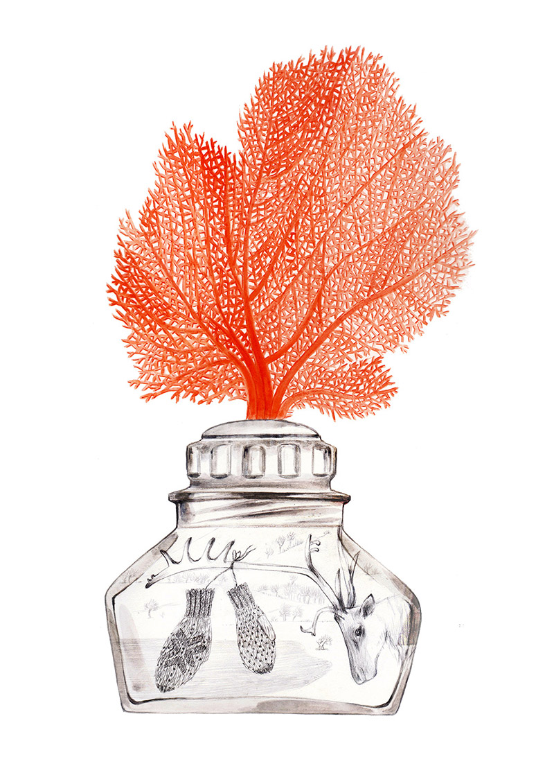 Small bottle with a branch of coral on the cap. Inside there is a winter scene with a reindeer and gloves. The bottle is part of a collection assembled by a child. Illustration for a book entitled