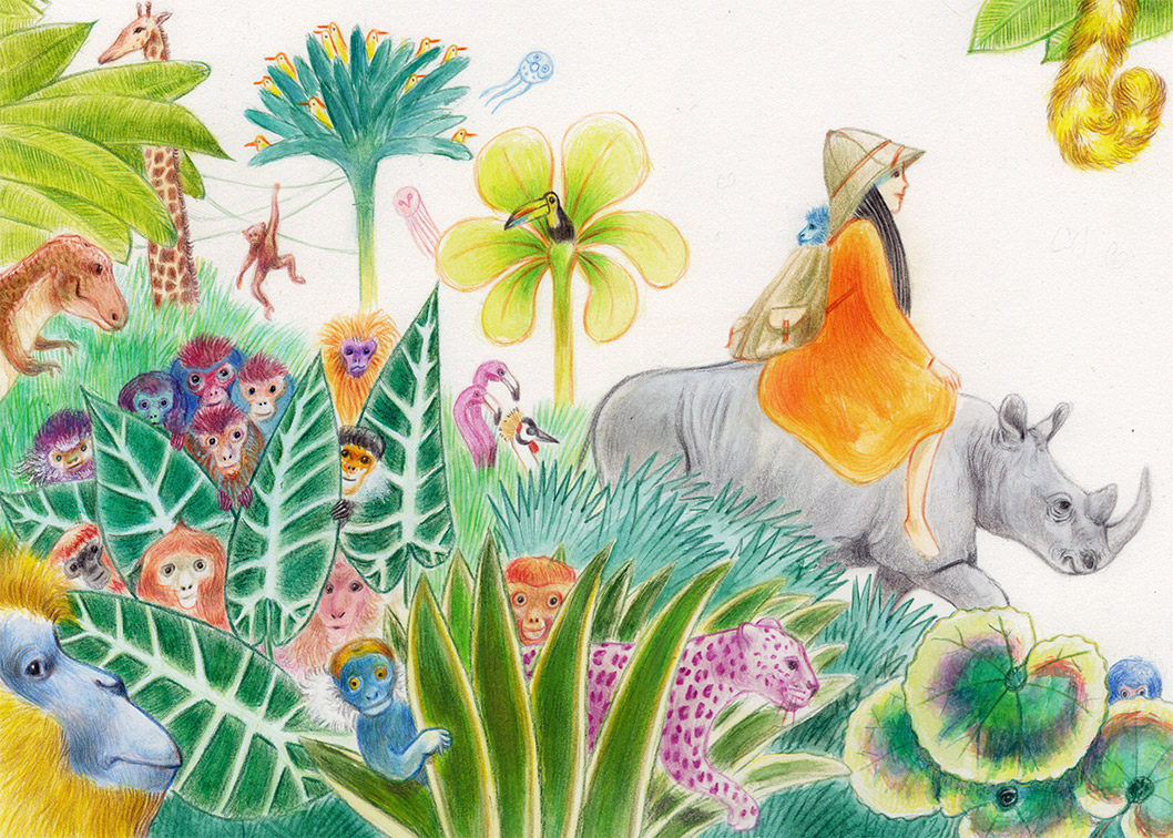 Illustration of a girl riding a rhinoceros in a jungle full of monkeys