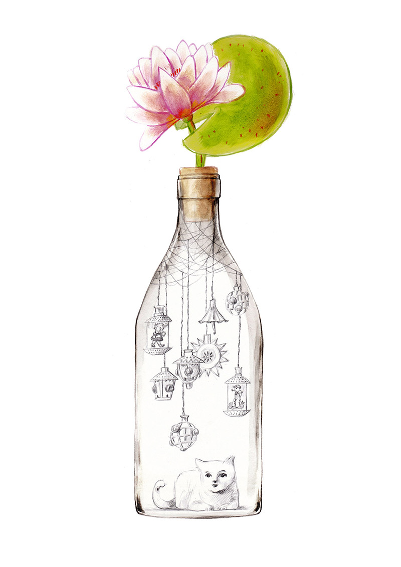 Bottle with a water lily on the cap. Inside there are some hanging Christmas lanterns and a white cat. The bottle is part of a collection assembled by a child. Illustration for a book entitled