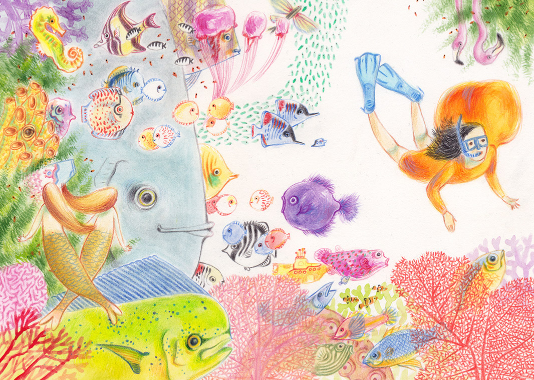 Illustration of a little girl scuba diving in the sea among many fish, corals and other creatures