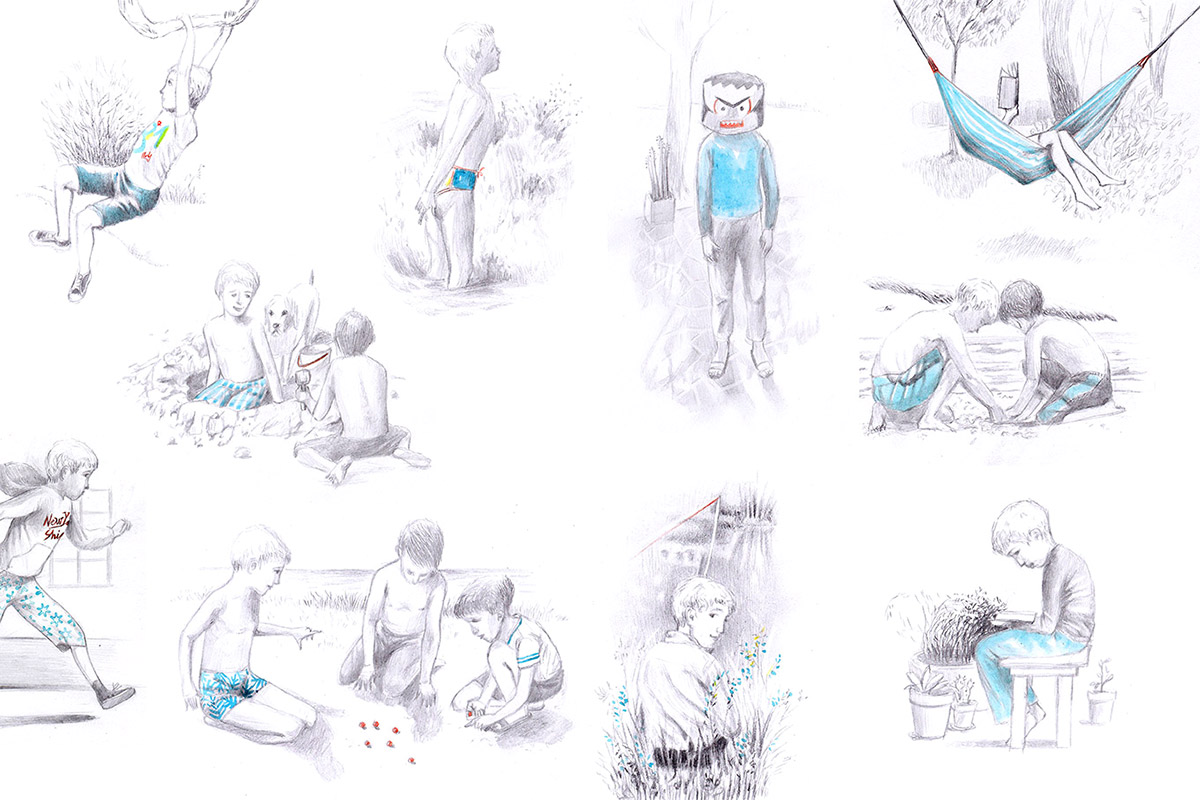Scenes which depict a child's summer life: he runs, he reads on the hammock, he swims, he digs in the sand, he climbs trees ... illustrations for the endpapers of the book entitled