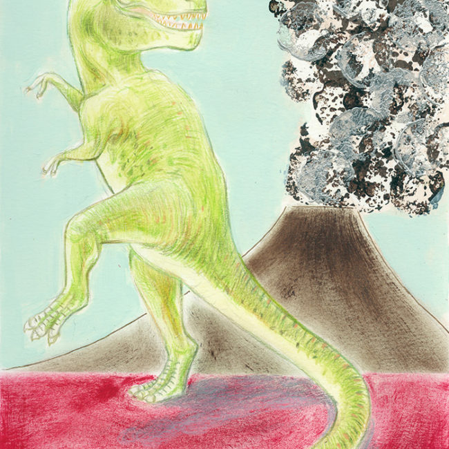 Illustration of a Tyrannosaurus rex, on the background an erupting volcano