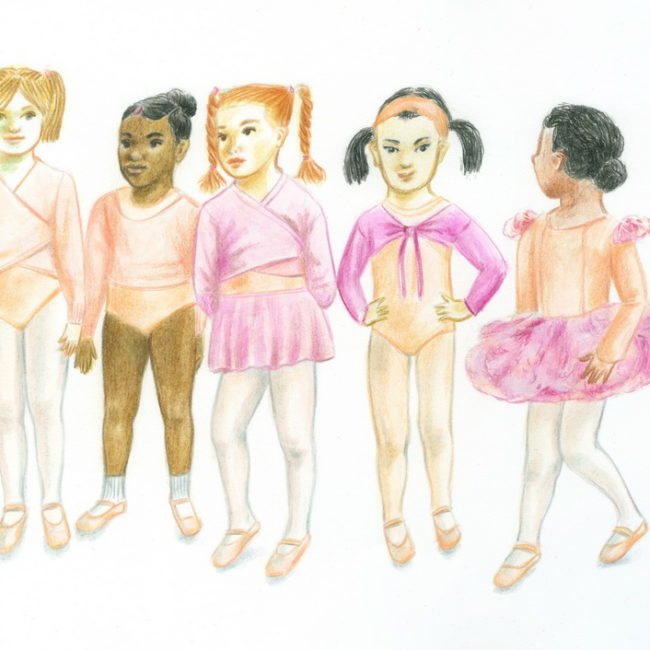 Five little girls dressed for ballet