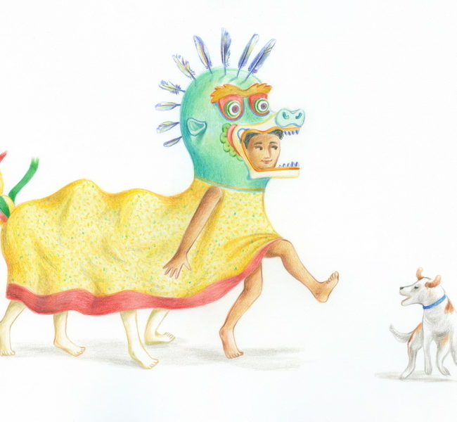 Three children play disguised as a dragon and a festive dog runs around them