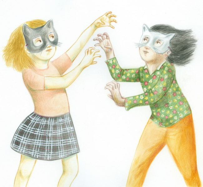 Two masked girls play pretending to be kittens