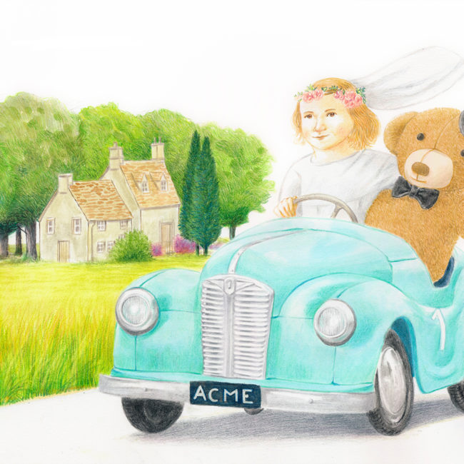 A little girl with her teddy bear in a wedding dress is taking a ride on a toy car in the countryside